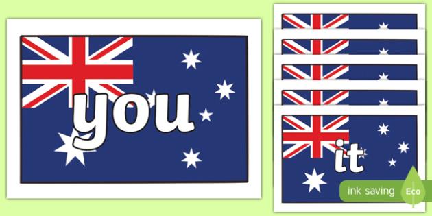 100 High Frequency Words on Australia Flag - 100 high frequency words, high frequency words, australia flag, flag, australia