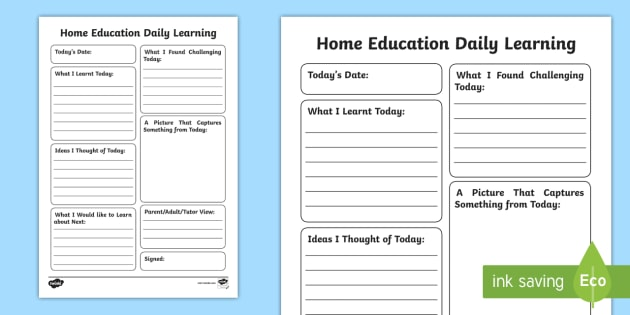 Home education daily learning journal writing template review home education daily learning journal writing template review home ed diary learning pronofoot35fo Images