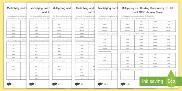 Multiplying And Dividing Decimals By 10 100 And 1000