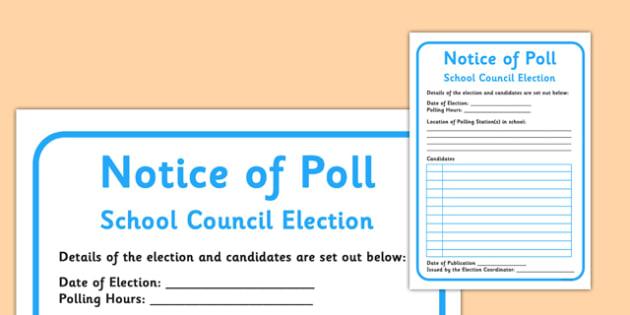 School Council Election Notice of Poll - school council, election, notice, poll