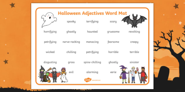 Halloween Adjectives Word Mat Teacher Made