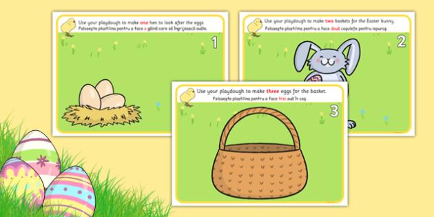 Easter Counting Playdough Mats 1-5 Romanian Translation - romanian, mat, activity, playdough, play-doh, play doh, easter, counting, counting on, counting back, numeracy, easter counting mat, easter playdough, activity mat, activity, fun, playdough ac