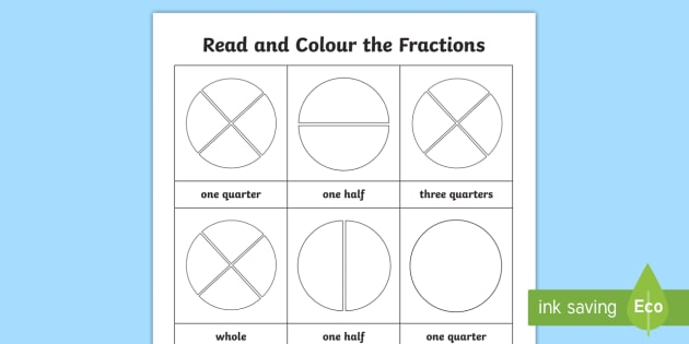 Fractions Year 1: Read and Colour Worksheet