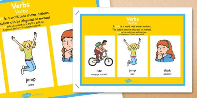 Verb Display Poster Romanian Translation - romanian, verb, display poster, display, poster