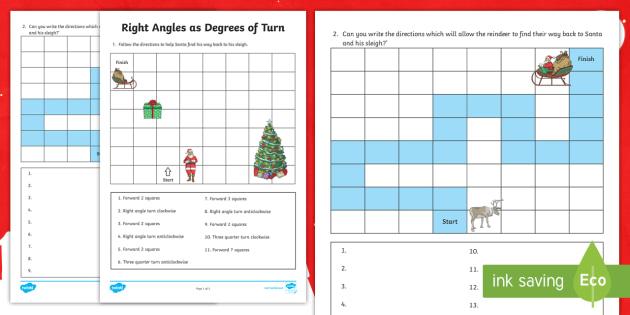 Christmas Right Angle Turns Worksheet / Worksheet - Maths ...