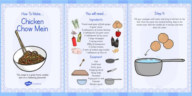 Chicken Chow Mein Recipe Cards - chicken, chow mein, recipe, card