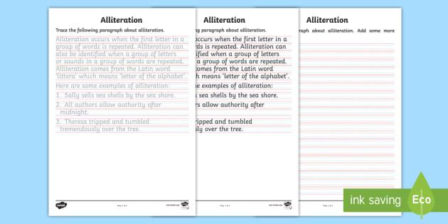 Alliteration Handwriting Activity Sheet - Alliteration handwriting activity sheet, handwriting, legible handwriting, year 6, creating texts, A