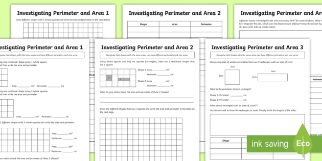 Perimeter and Area Worksheet / Worksheet Pack - perimeter, area ...