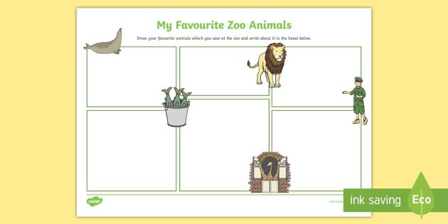 My Favourite Zoo Animal Writing Frame - zoo, animal, favourite