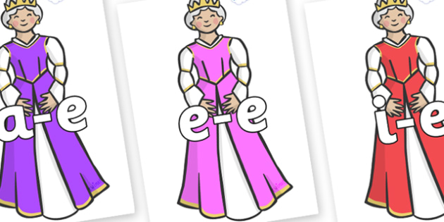 Modifying E Letters on Queens - Modifying E, letters, modify, Phase 5, Phase five, alternative spellings for phonemes, DfES letters and Sounds