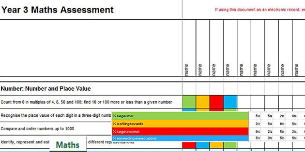 2014 Curriculum Year 3 Maths Assessment Term 1 Spreadsheet - numeracy