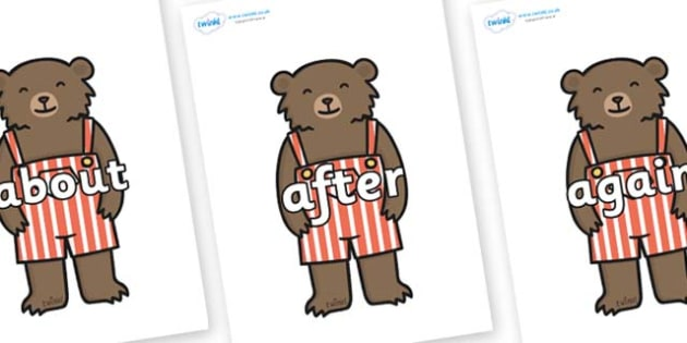 KS1 Keywords on Little Bear - KS1, CLL, Communication language and literacy, Display, Key words, high frequency words, foundation stage literacy, DfES Letters and Sounds, Letters and Sounds, spelling