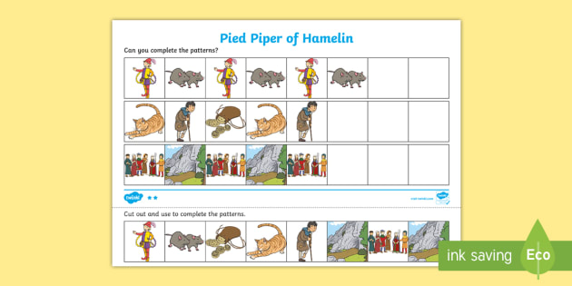 The Pied Piper Complete the Pattern Worksheets - pattern, sheet