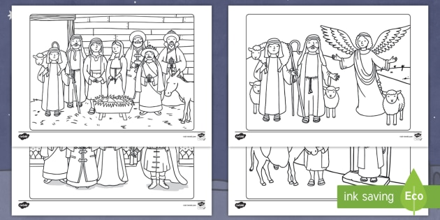 new nativity scene colouring pages christmas mary joseph jesus