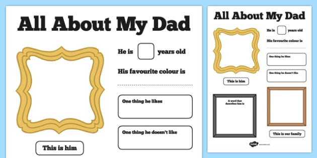 All About My Dad Poster - all about my dad, poster, display, fathers day