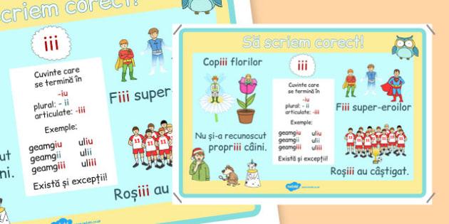 Poster ortografic iii - ortografie, 3 i, scriere, romana, planse