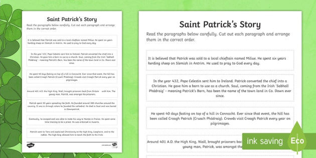St. Patrick\'s Day Story Ordering Worksheet / Activity Sheet