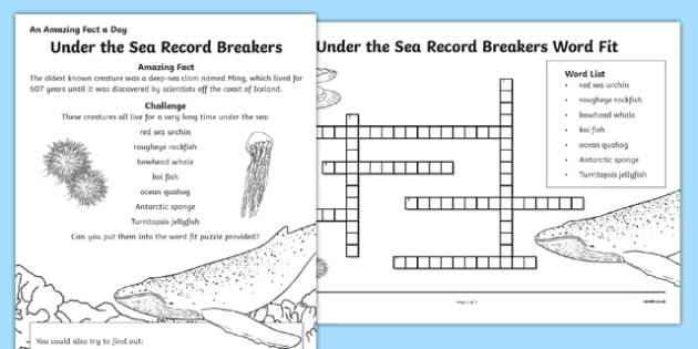 Under the Sea Record Breakers Activity Sheet, worksheet