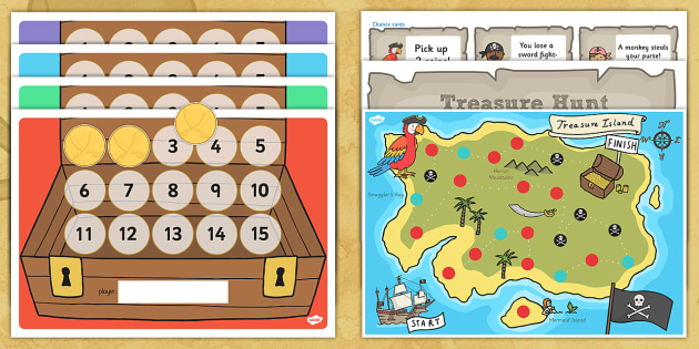 A4 Pirate Treasure Hunt Board Game - pirates, games, board games