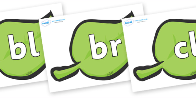 Initial Letter Blends on Green Leaves - Initial Letters, initial letter, letter blend, letter blends, consonant, consonants, digraph, trigraph, literacy, alphabet, letters, foundation stage literacy