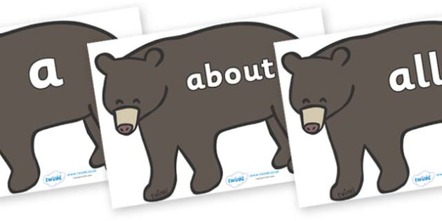 100 High Frequency Words on Grizzly Bears - High frequency words, hfw, DfES Letters and Sounds, Letters and Sounds, display words