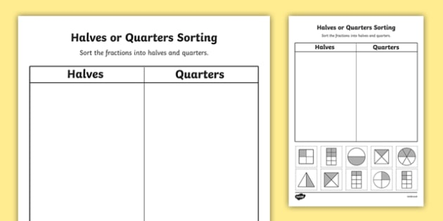 Fractions Halves and Quarters Sorting Activity