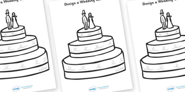 Design a Wedding Cake - Wedding, Weddings, fine motor skills, colouring, designing, activity, marriage, bride, groom, church, priest, vicar, dress, cake, ring, rings, bridesmaid, flowers, bouquet, reception, love