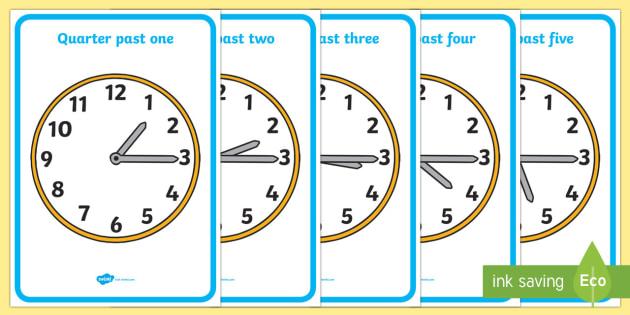 analogue clocks quarter past time resource time vocabulary. Black Bedroom Furniture Sets. Home Design Ideas