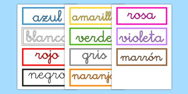 Tarjetas de vocabulario de los colores - azul, rojo, amarillo, verde, colorear, pintar, decoración de la clase