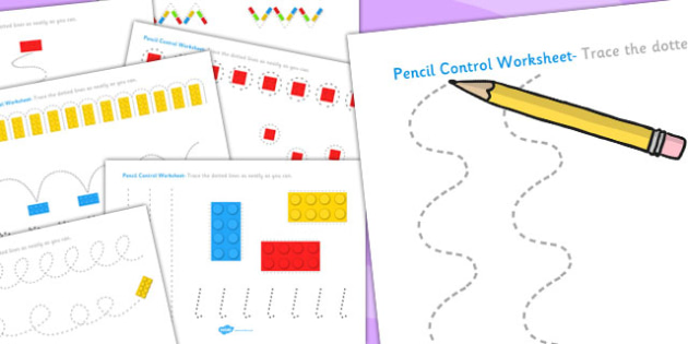 Building Brick Themed Pencil Control Worksheets - fine motor skills, toys