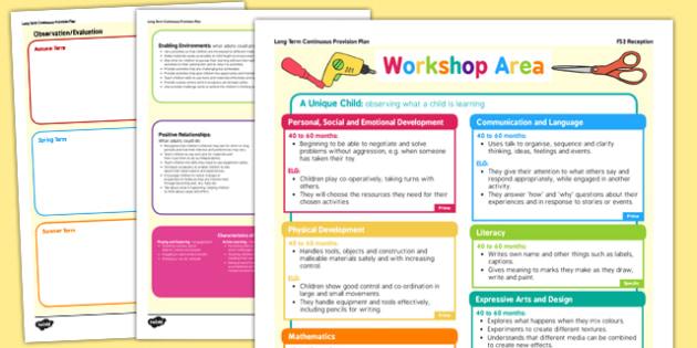 Workshop Area Continuous Provision Plan Posters Reception FS2