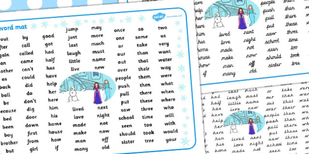 Winter Fairytale Themed KS1 Word Mat - word mat, frozen, tale