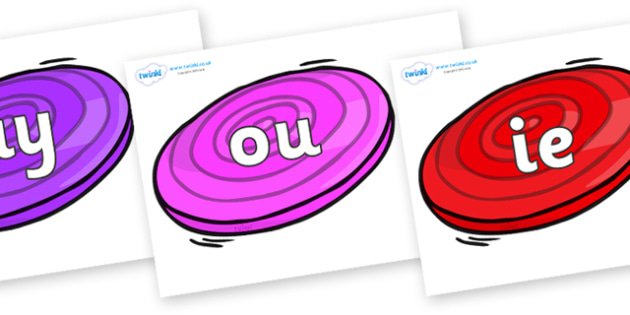 Phase 5 Phonemes on Frisbees - Phonemes, phoneme, Phase 5, Phase five, Foundation, Literacy, Letters and Sounds, DfES, display