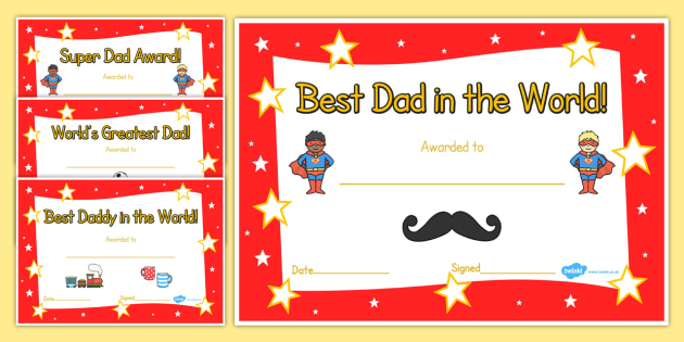 Father's Day Certificates - Father's day card, father's day cards, father's day activity, father's day resource, card, card template