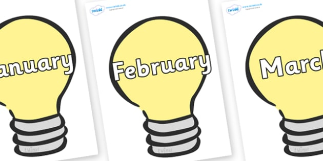 Months of the Year on Lightbulbs (Plain) - Months of the Year, Months poster, Months display, display, poster, frieze, Months, month, January, February, March, April, May, June, July, August, September