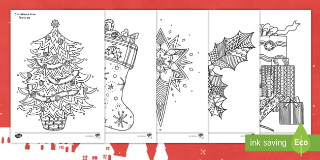 christmas themed mindfulness colouring pages englishhindi festive christmas plants tree