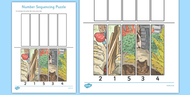 Beatrix Potter - The Tale of Benjamin Bunny Number Sequencing Puzzle - beatrix potter, benjamin bunny