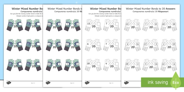 winter themed mixed number bonds to 20 worksheet activity. Black Bedroom Furniture Sets. Home Design Ideas