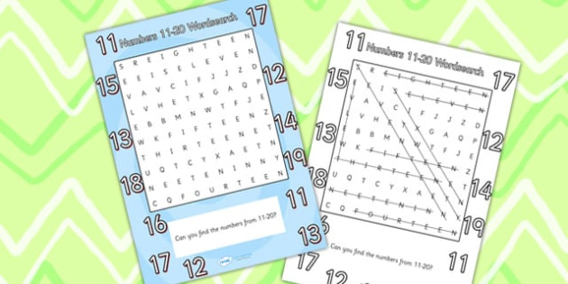 Numbers 11 20 Word Search - numbers wordsearch, wordsearch, maths wordsearch, mathematics wordsearch, numbers 11-20, maths word activity