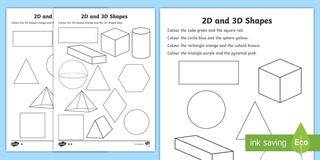 2D and 3D Shapes Colouring Sheets - 3D, 2D, 3D shapes, shapes