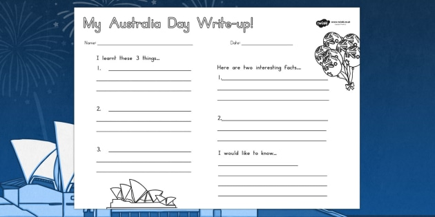 Day Write Up Worksheet worksheets celebrations – Australia Worksheets