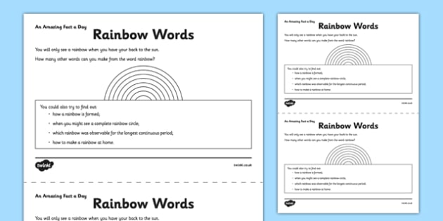 Rainbow Words Activity Sheet - rainbow, how many words, home education, fact of the day, worksheet