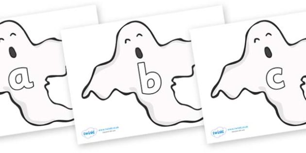 Phase 2 Phonemes on Ghosts (Plain) - Phonemes, phoneme, Phase 2, Phase two, Foundation, Literacy, Letters and Sounds, DfES, display
