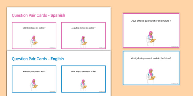 General Conversation Jobs Career Choices & Ambitions Question Pair Cards Spanish