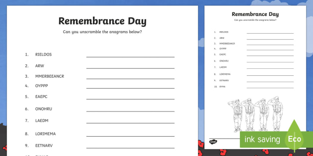 Remembrance Day Anagrams Worksheet Activity Sheet