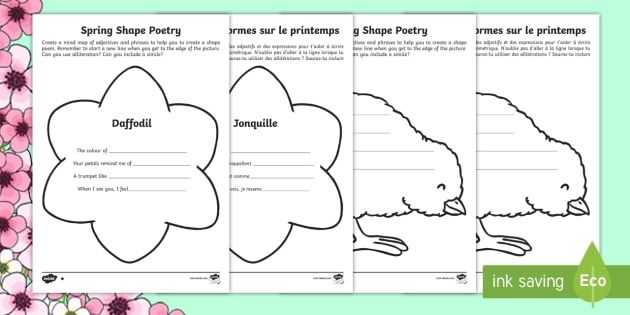 NEW * KS1 Spring Shape Poetry Differentiated Activity Sheets
