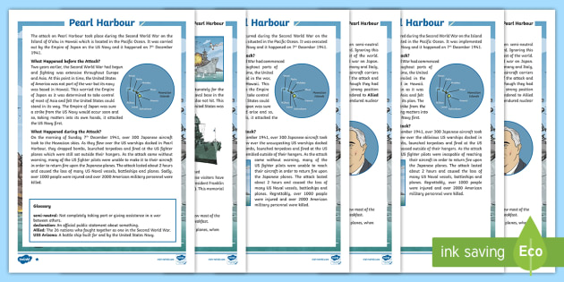 Pearl Harbour Uks2 Differentiated Reading Comprehension Activity