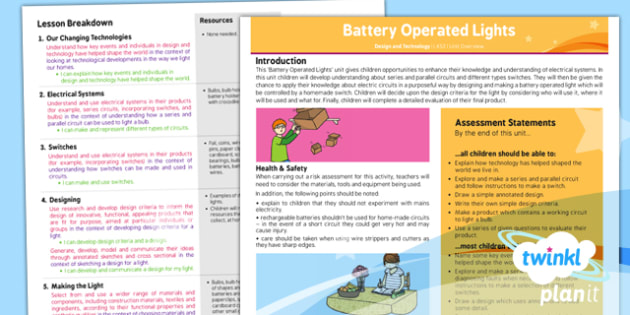 D&T: Battery Operated Lights LKS2 Unit Planning Overview
