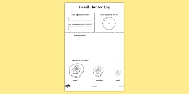 Fossil Hunter Role Play Log - fossil, role play, dinosaurs, log