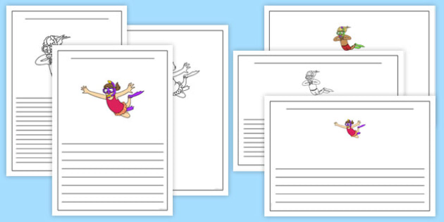 Snorkelling Writing Frames - snorkelling, writing frames, write, frame